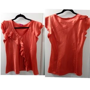 Sunny Leigh melon color ruffle shirt